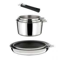 Malice - Lot 6 pièces - 3 casseroles, 2 poêles revêtues et 1 poignée noire