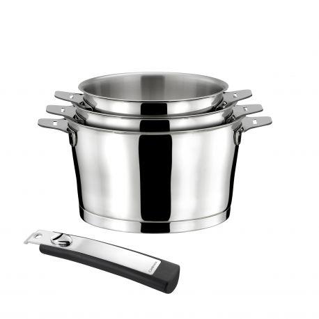 Asana - Série de 3 casseroles 16/18/20cm inox avec poignée