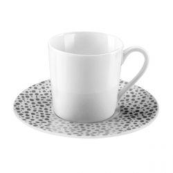Baghera Platine - Coffret 6 tasses et soucoupes café