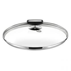 Malice - Couvercle 20cm verre, bakélite noire et acier