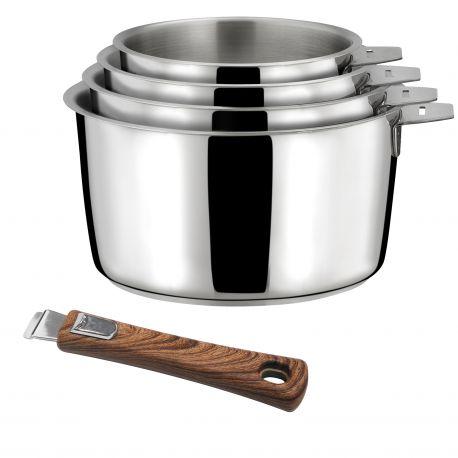 Malice - Série de 4 casseroles 14/16/18/20cm inox avec poignée effet bois