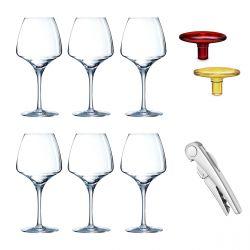 Open-up - 6 verres à pied, sommelier et bouchons en verre