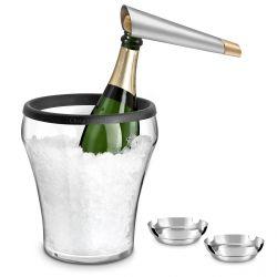 Millésime - Seau à champagne, coupelles inox et tire-bouchon champagne